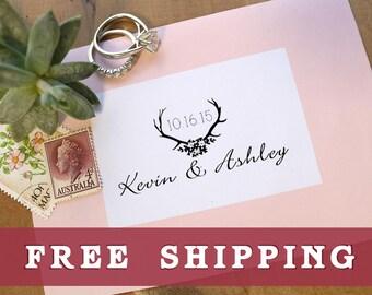 Deer Antlers Stamp, Wedding Save The Stamp Stamp, Wedding Date Stamp, Custom Wedding Stamp, Wedding Stamps, Antler Stamp, Engagement Gift