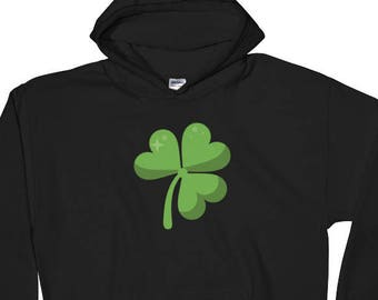 4 Leaf Clover, St Patrick, St Patty Day, Green Clover, shamrock on Black Hooded Sweatshirt