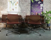 Set of 6 Aluminum Chairs EA 108 by Charles Ray Eames for Herman Miller Vitra Original Office Chair Visitor Chair Vintage Alu Chairs Velours