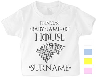 97f8ef74 Game of Thrones House of Stark Prince(ss) of Custom House Toddler Childrens  Personalised T-Shirt Gift Games of Thrones Kids T Shirt