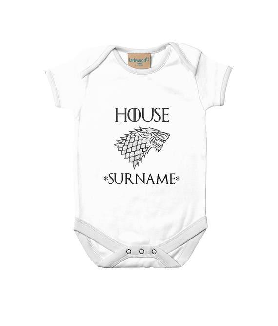 PERSONALISED Baby of House Stark Gift Bodysuit GoT Game of Thrones Boys Girls