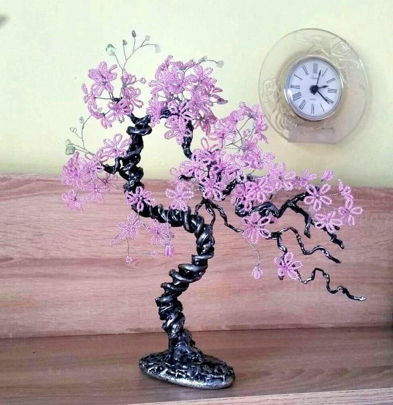 Rose quartz wire bonsai tree