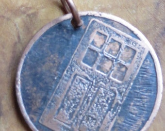 Etched copper disc charm