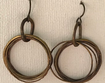 copper and brass drop circle earrings