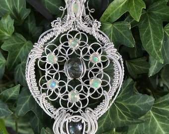 Opal and Labradorite flower of life