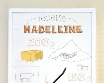 "Recipe print ""Madeleine"" - Original drawing"
