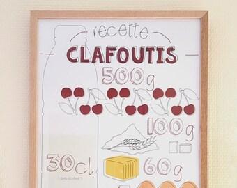 "A3 design poster - Graphic recipe ""Clafoutis"""