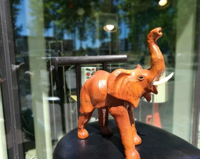 Vintage leather elephant figurine