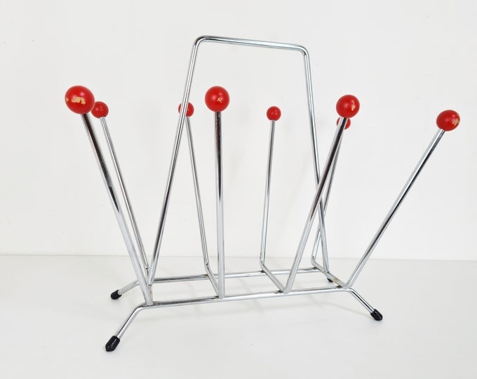 Featured listing image: Charles & Ray Eames style sputnik magazine rack, 1950s