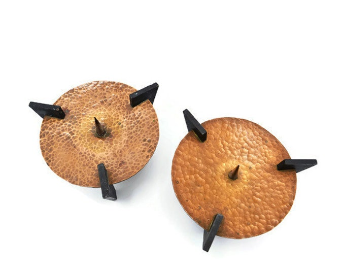 Pair of brutalist candle holders