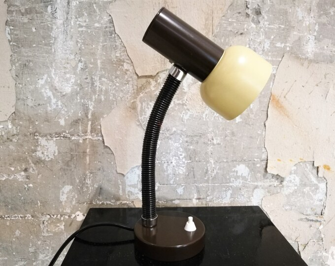 Bbrown and beige desk lamp, 1970s