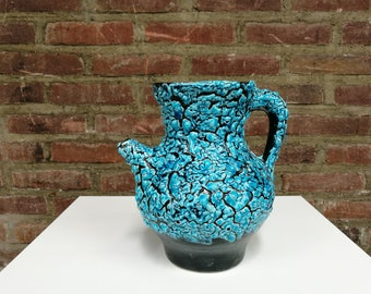 Vallauris Pitcher, thick blue glaze, 60's