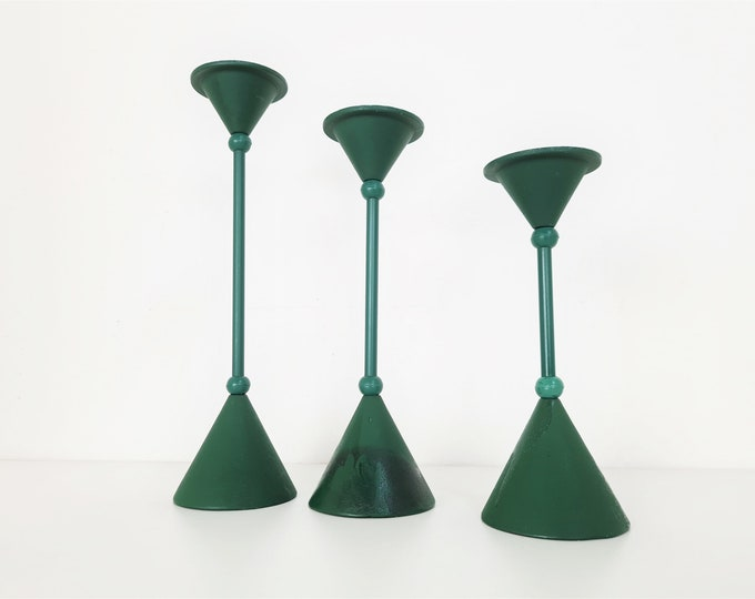 Featured listing image: Vintage 1980s candlestick holders, set of 3