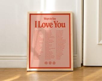 I Love You Wall Print, Digital Download Print, Retro Wall Decor, Large Printable Art, Downloadable Prints