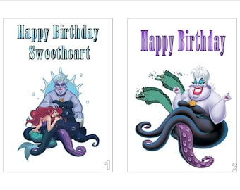 Ursula Disney Inspired Printed Birthday Card Personalised Any Age Relation Occasion