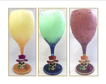 6b26a9f1e568 Glitter   Sparkle Gothic Skull Wine Glasses ~ 3 Options to Choose From