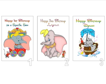 Personalised Printed Disney Inspired DUMBO Birthday Cards Name Age Etc