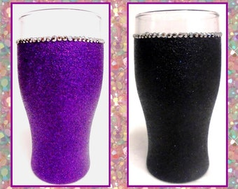 Glittered Pint Glasses with Silver Bling Detail