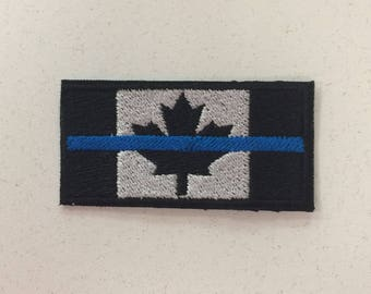 Police Law Enforcement Thin Blue Line Canada Flag Patch