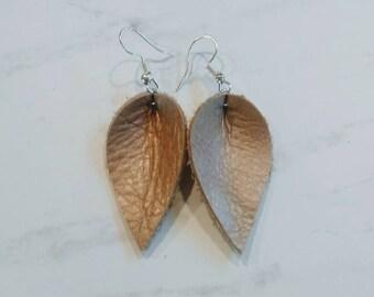 leather petal earrings, leather earrings, womens earrings, petal earrings, handmade earrings, leather accessories