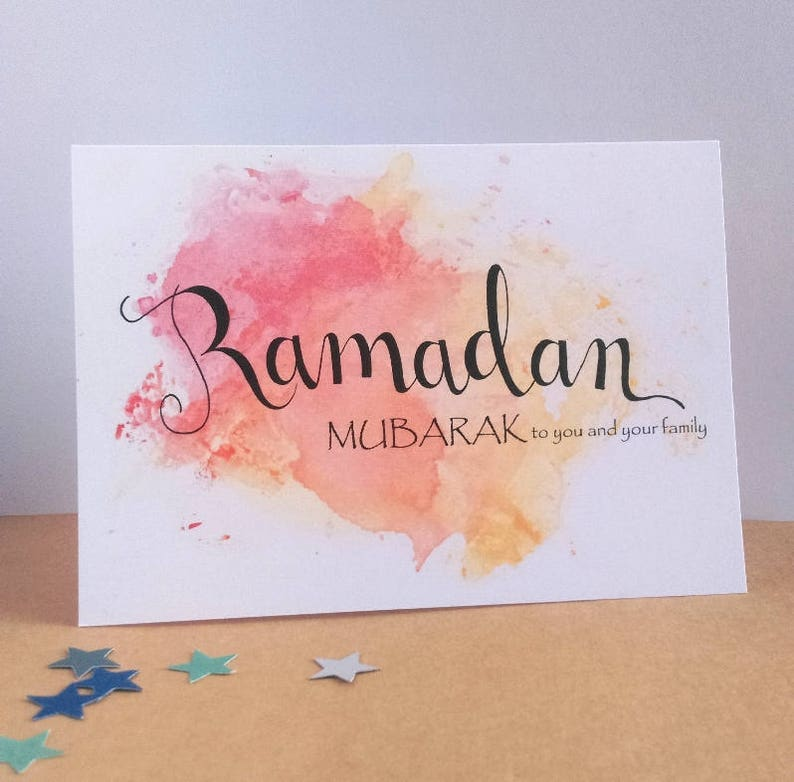 photograph relating to Ramadan Cards Printable named Printable Ramadan Mubarak Card, Joyful Ramadhan, Summary Watercolour, Hand lettering, Calligraphy, Islamic Greeting, Muslim, English, Innovative