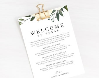 welcome letter template wedding itinerary card welcome bag letter wedding agenda printable hotel welcome note templett w19