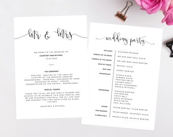 simple wedding programs etsy