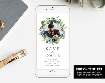 blush floral electronic save the date template mobile save etsy