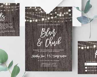 Marble Wedding Invitation Template Printable Wedding Etsy