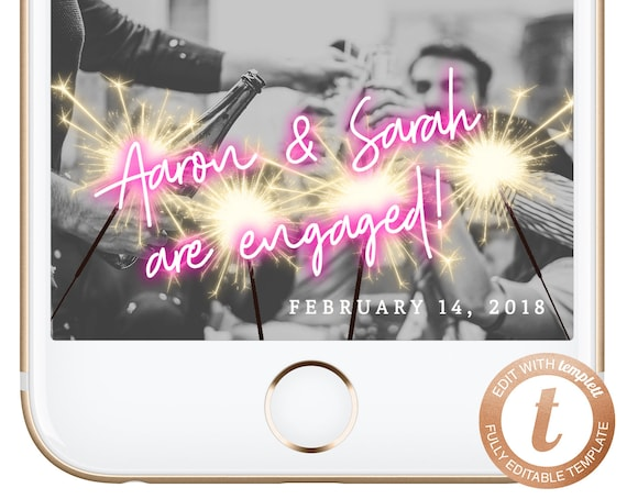 Tropical Engaged Geofilter Engagement Snapchat Filter Editable Gold Tropical Engagement Filter Snapchat GeoFilter Instant Download