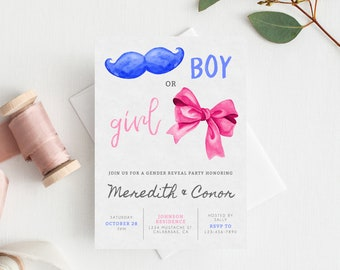 INSTANT DOWNLOAD Gender Reveal Party Invitation, Printable Gender Reveal, Boy or Girl Gender Reveal Party Invite, He or She, Templett