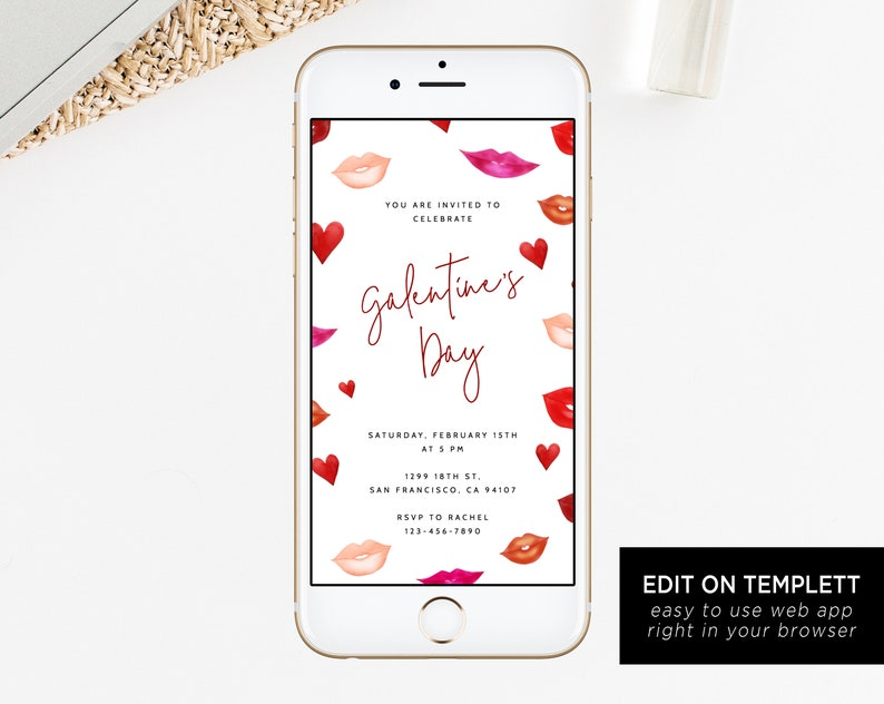 Galentine S Day Electronic Invitation Template Mobile Etsy