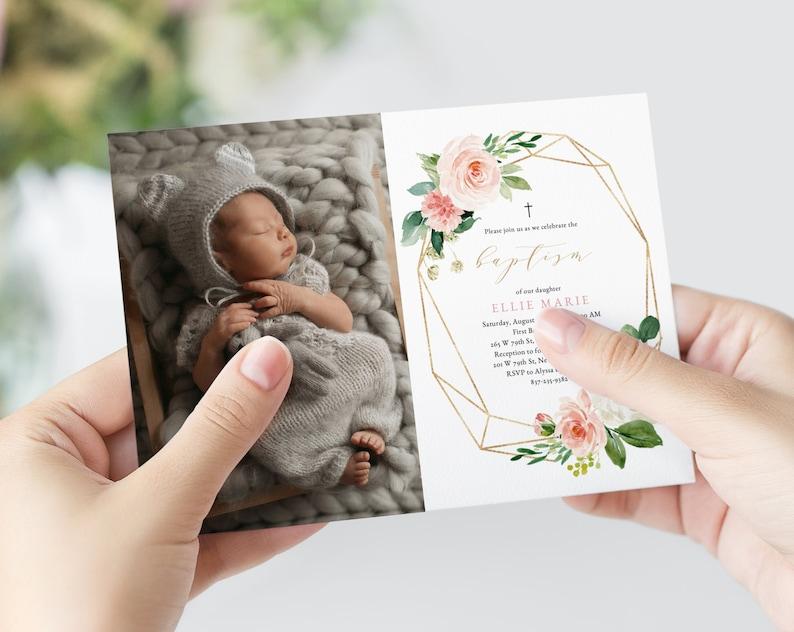 Blush Flowers Invite Template Blush /& Gold Baptism Invitation Template Printable Floral Baby Baptism Invitation B29 Templett