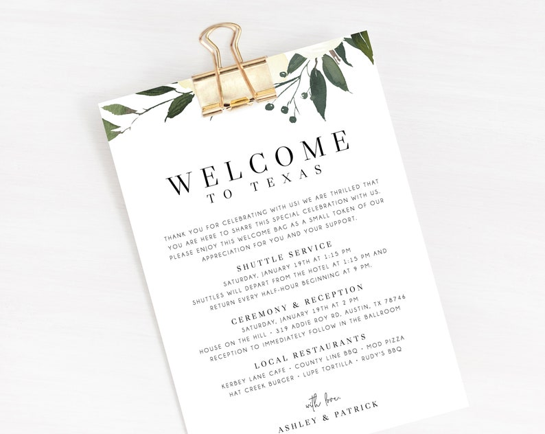 Welcome Letter Template, Wedding Itinerary Card, Welcome Bag Letter,  Wedding Agenda, Printable Hotel Welcome Note, Templett, W19