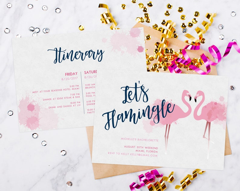 INSTANT DOWNLOAD Bachelorette Invitation Template Tropical Beach Flamingo Invite Lets Flamingle Miami Templett PDFBP01