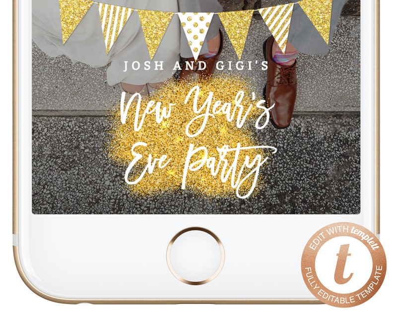 INSTANT DOWNLOAD Snapchat Geofilter NYE New Years Party Snapchat Filter Holidays Filters Gold Glitter Champagne Geofilters Templett