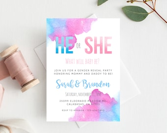 Gender Reveal Invitation Template, Blue or Pink Gender Reveal, He or She Invite, Instant Download Gender Reveal Invitations, Templett