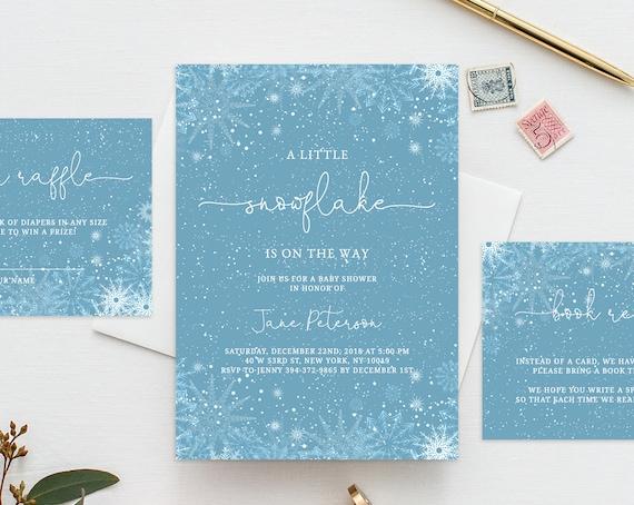 Christmas Baby Shower Invitation Template Printable Snowflake Etsy