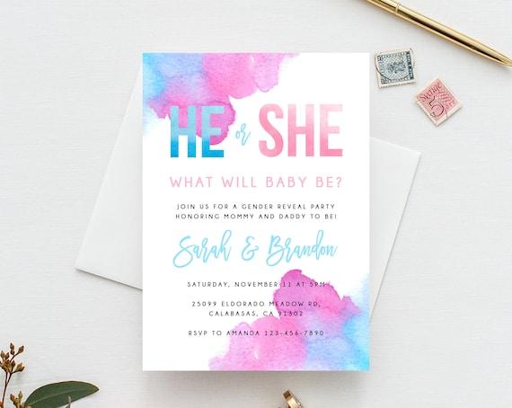 Gender Reveal Invitation Template Blue Or Pink Gender Reveal Etsy
