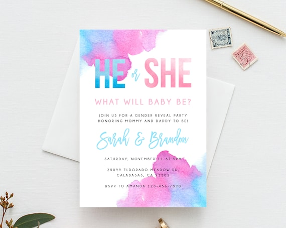 Gender Reveal Invitation Template Blue Or Pink Gender Reveal He Or She Invite Instant Download Gender Reveal Invitations Templett B14