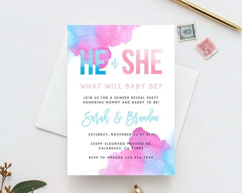 Gender Reveal Invitation Template Blue Or Pink He She Invite Instant Download Invitations Templett B14