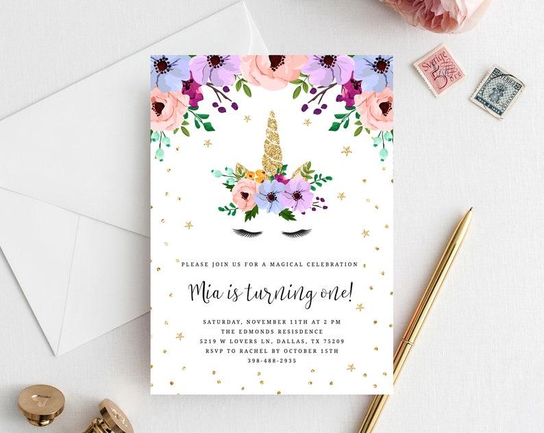 Unicorn Birthday Invitation Template Printable Themed