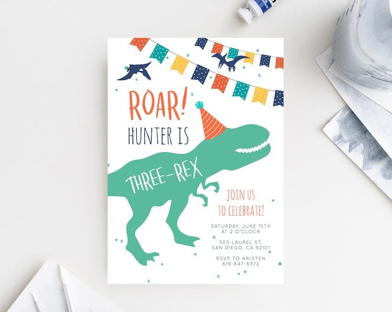 Dinosaur Birthday Invitation Template Three Rex
