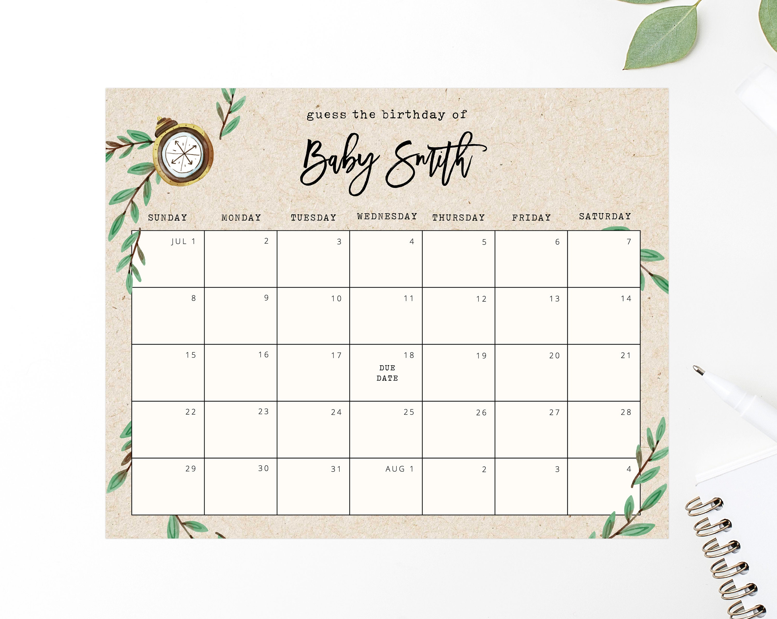 Best Baby Shower Calendar Template Pictures Printable Template