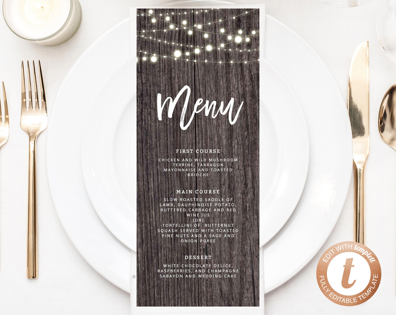 INSTANT DOWNLOAD Wedding Menu Template, Printable Wedding Menu ...
