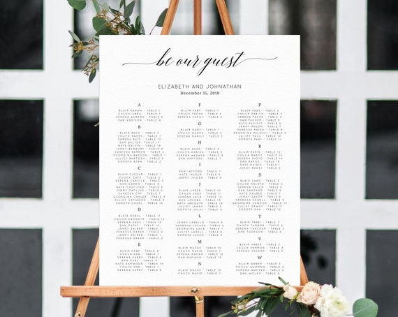 Be Our Guest Alphabetical Wedding Seating Chart Template Seating Chart Printable Table Chart Seating Board Wedding Sign Templett W02