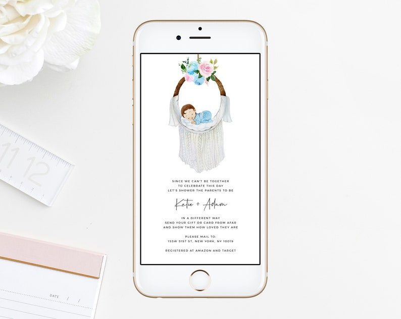 Long Distance Electronic Announcement Blue Baby Shower Phone Invitation Baby Shower By Mail Template B36 Social Distancing Templett