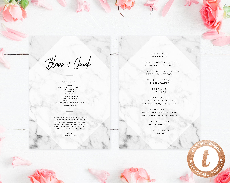 INSTANT DOWNLOAD Wedding Program Template Printable Wedding Program - Editable wedding program templates