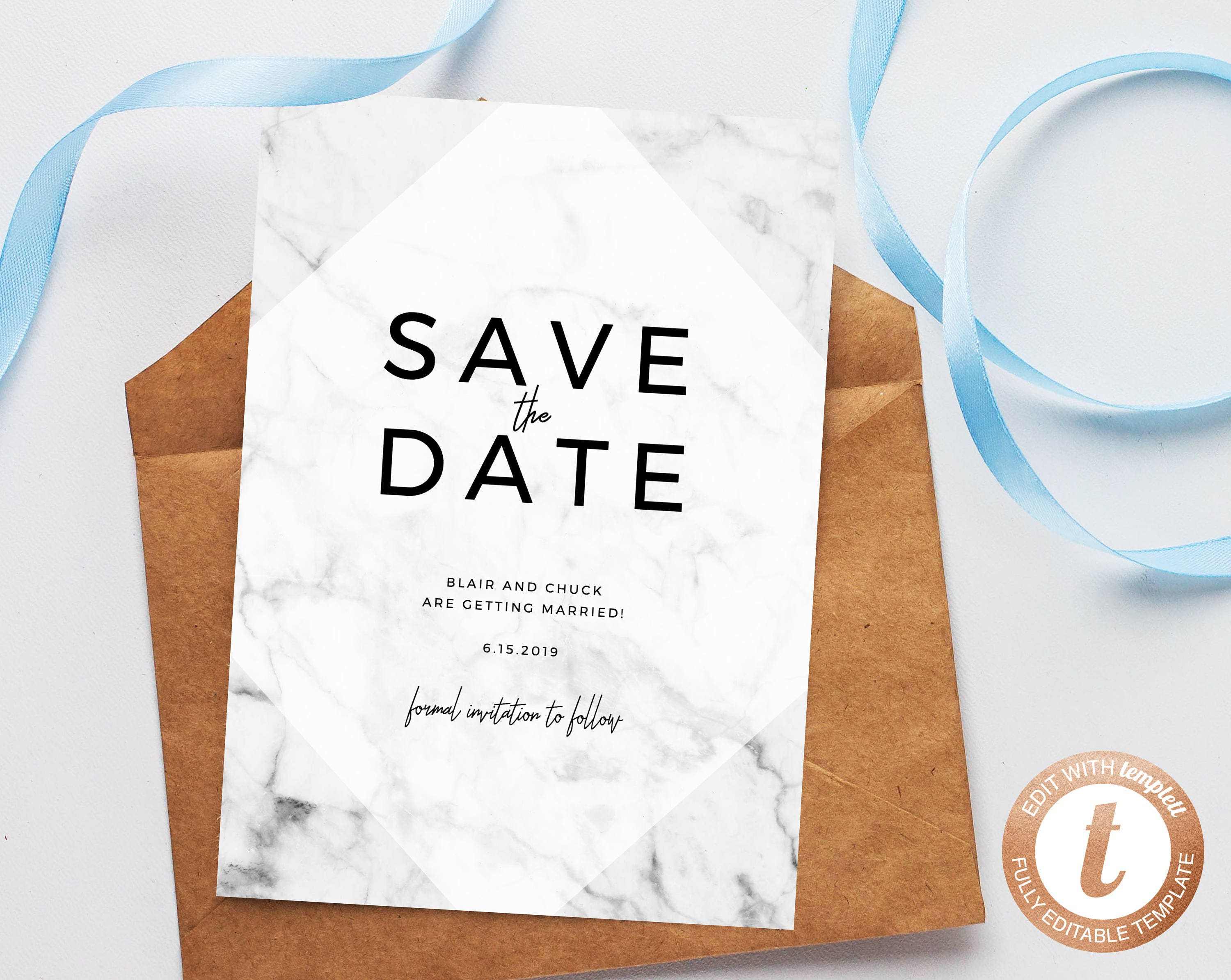 INSTANT DOWNLOAD Save the Date Save the Date Template Marble | Etsy