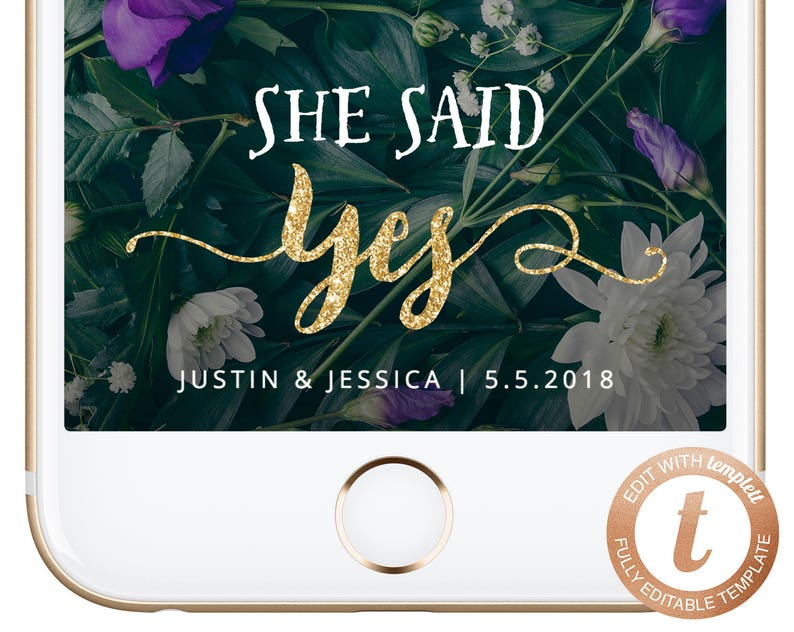 INSTANT DOWNLOAD Snapchat Filter Engagement Party Snapchat Geofilter She  Said Yes Geofilters Engaged Gold Snap Filters Proposal Templett